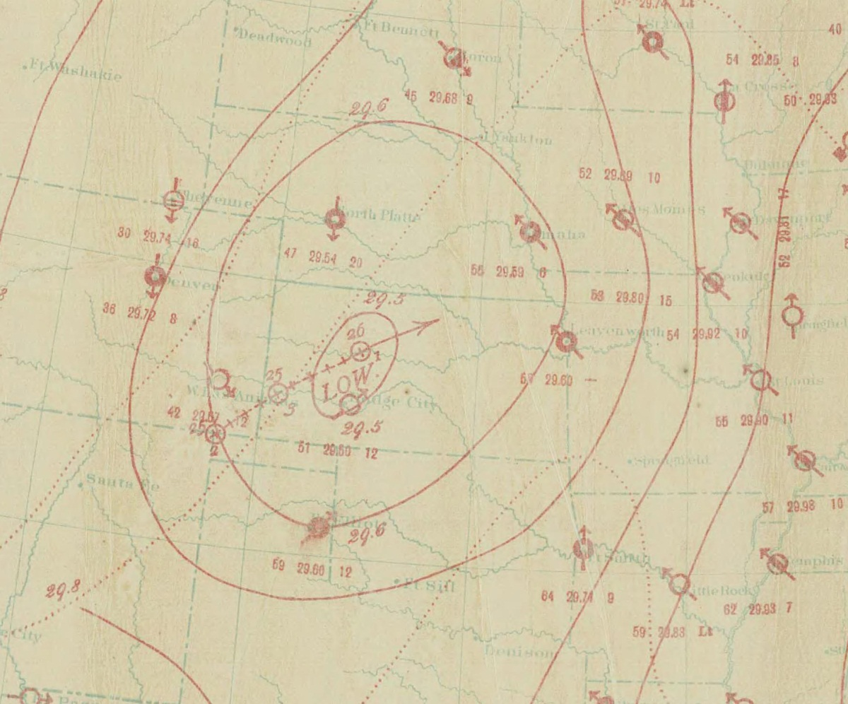 Weather map showing intense low pressure system over Kansas on the day of the Anderson County tornado (courtesy of the National Oceanic and Atmospheric Administration).