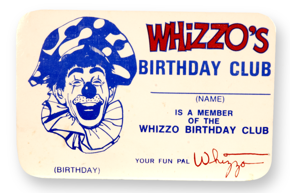 Membership card for the Whizzo Birthday Club