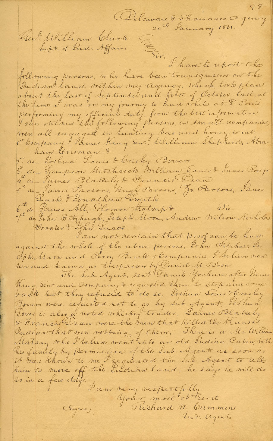 An example of a letter from the William Clark papers