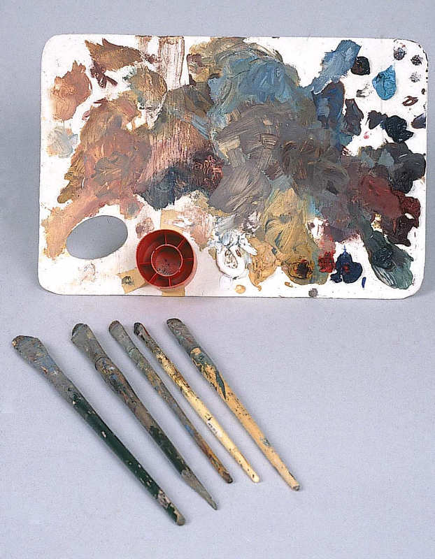 Winter's palette and brushes