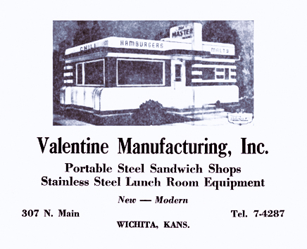 Valentine diners ad from 1951 Wichita City Directory.