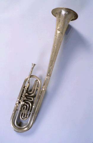 Tenor horn damaged  in Quantrill's raid.