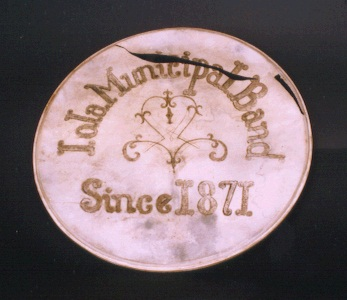 Iola Municipal Band drum-head.