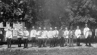 P.G. Lowery is third from the right in this undated photo of the Eureka band.