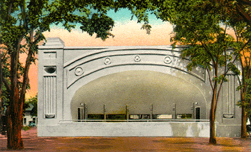 Postcard of the Garden City band shell, 1938.