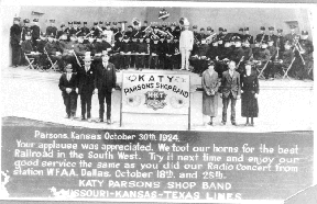Postcard for Parsons KATY Shop Band, 1924.