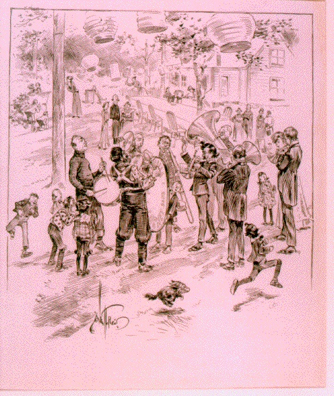 A typical town band, drawn by  Kansas cartoonist Albert T. Reid.