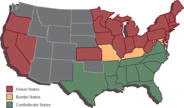 States' allegiances during the Civil War.