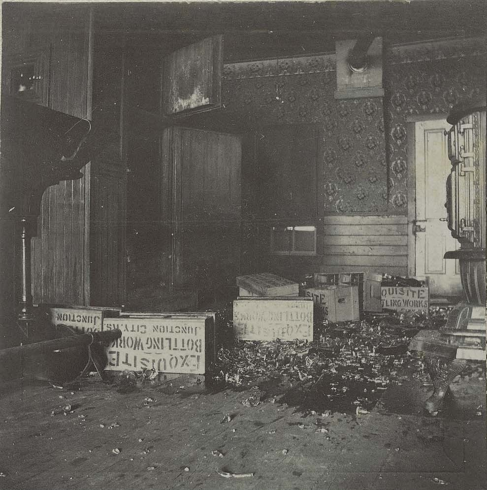 Saloon wrecked by Carry Nation in Enterprise, Kansas, 1901.