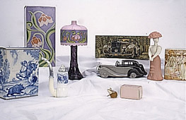 Selection of Avon bottles in the museum collection.