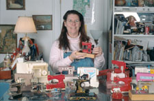 Dorsey with her toy sewing machines.