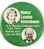 1974 Nancy Landon Kassebaum for U.S. Senate button with President Gerald Ford