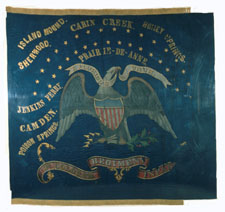 Regimental flag of the First Kansas Colored Infantry, the first  African American regiment recruited in the Northern states.