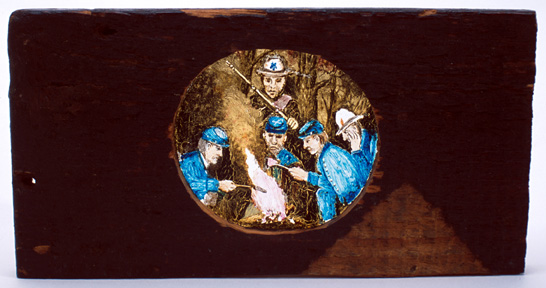 "Lantern slide painted  by Samuel Reader, depicting ""Southern hospitality"" to  prisoners, 1864."