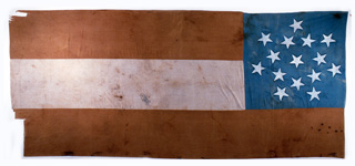Flag captured in town square at Iatan, Missouri, 1861.