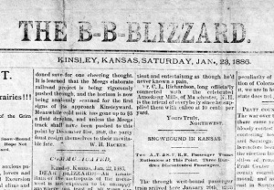 Kinsley newspaper during 1886 blizzard.
