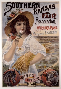Fair poster with images of agricultural bounty, 1891.