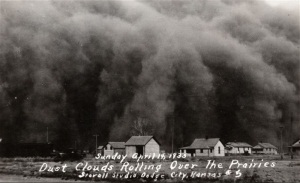 Dust storm over Hugoton, 1935.