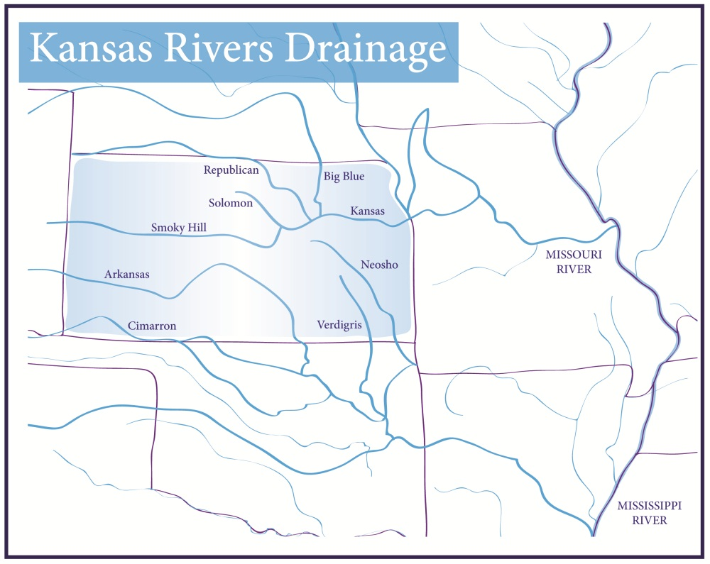 Forces Of Nature Part Kansas Historical Society - Kansas rivers map