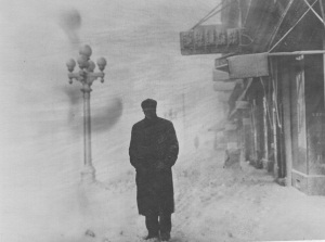 Blizzard in downtown Topeka, circa 1900