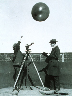 Early weather balloon release, ca. 1920.  Photo courtesy of the National Weather Service.