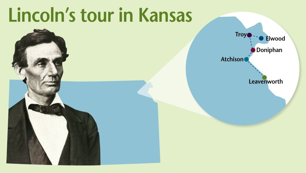 Map of Lincoln's visit to Kansas, 1859