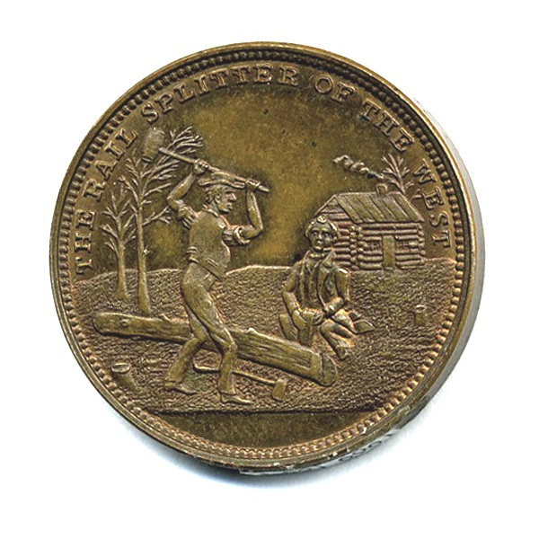 """Rail Splitter of the West"" coin from 1860 presidential campaign."