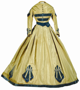 Smoke blue silk gown, 1865.