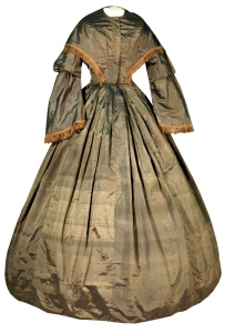 Shot sillk gown, ca. 1860.