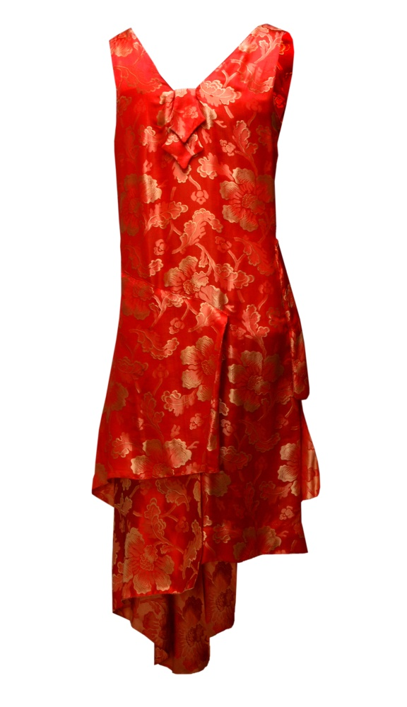 Orange Fl Brocade Gown 1920s