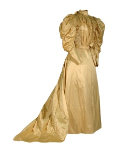 Beige satin wedding gown, 1895.