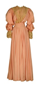 Coral silk Pouter Pigeon dress, 1905.
