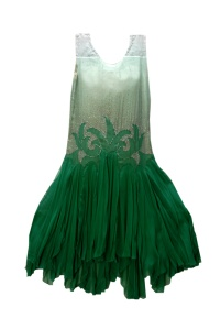 Green organza dress, late 1920s.