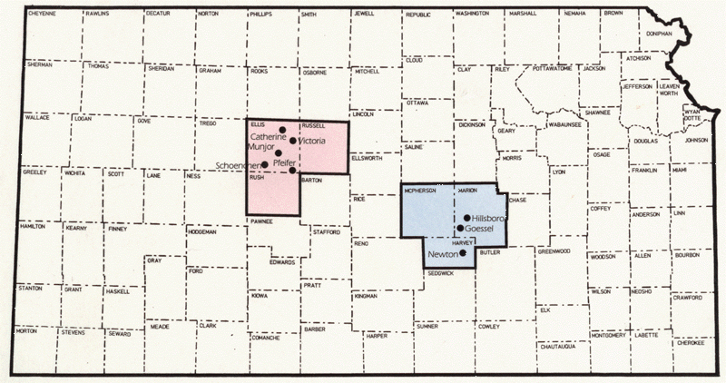 Map of Russian-German settlement in Kansas