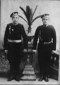 Volga German youths in Imperial Russian Army uniforms