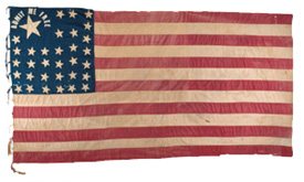 """Admit Me Free"" flags could be found in many states  around the country.  This one was used in Pennsylvania to support Kansas' admittance as a free state."
