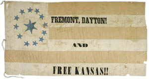 Ohio flag supporting 1856 Fremont presidential campaign. Dayton was  the vice-presidential candidate.
