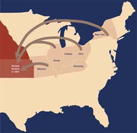 Before 1861, most Kansas settlers came from these states.