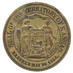 Kansas territorial seal.  Its images of bounty and opportunity overlooked Kansas' political struggles at the time.