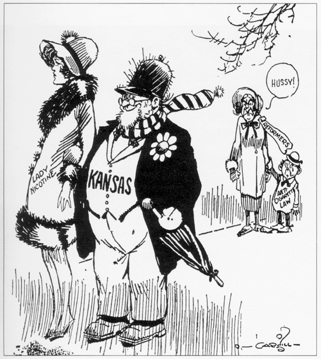 Satirical cartoon depicting Kansas being lead astray by Lady Nicotine.