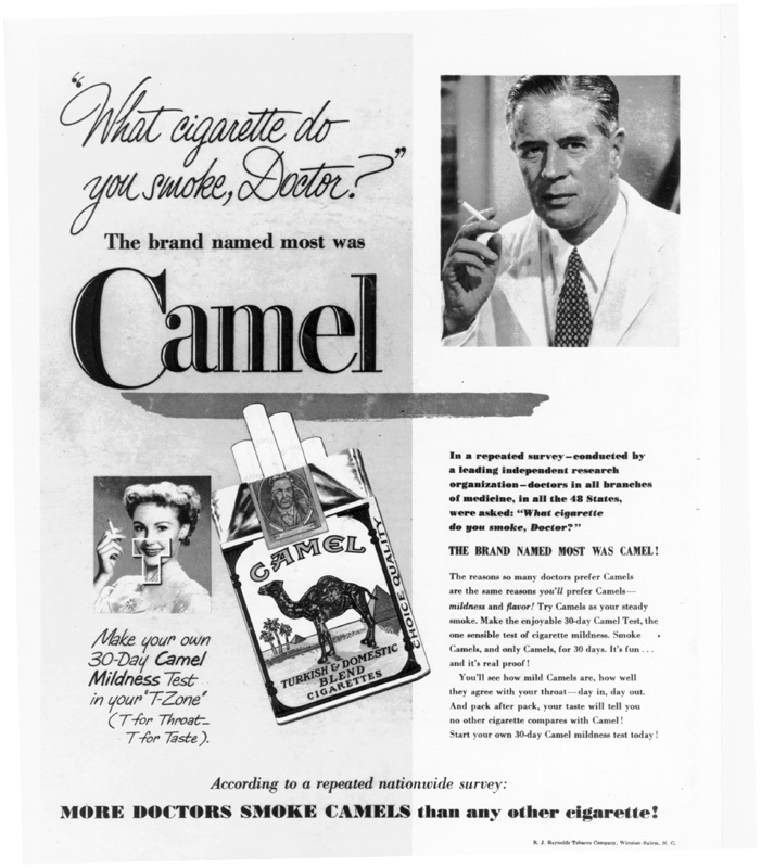 Look magazine ad with doctor spokesman encouraging smoking.