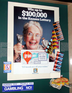 Late 20th century lottery poster and tickets.