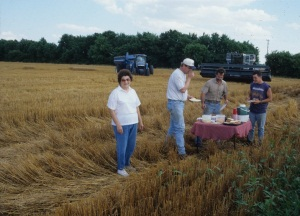 Ott family in the field, Mulvane, 1998.