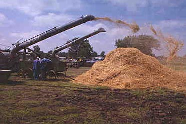 Threshing machines in operation at Goessel's Threshing Days event, 1998.