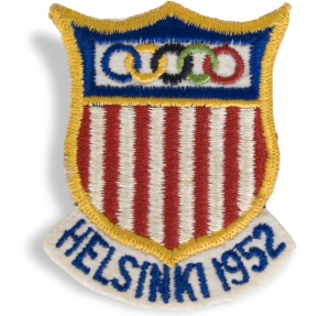 Official patch from 1952 Helsinki Olympics. acquired by Wes Santee of Kansas