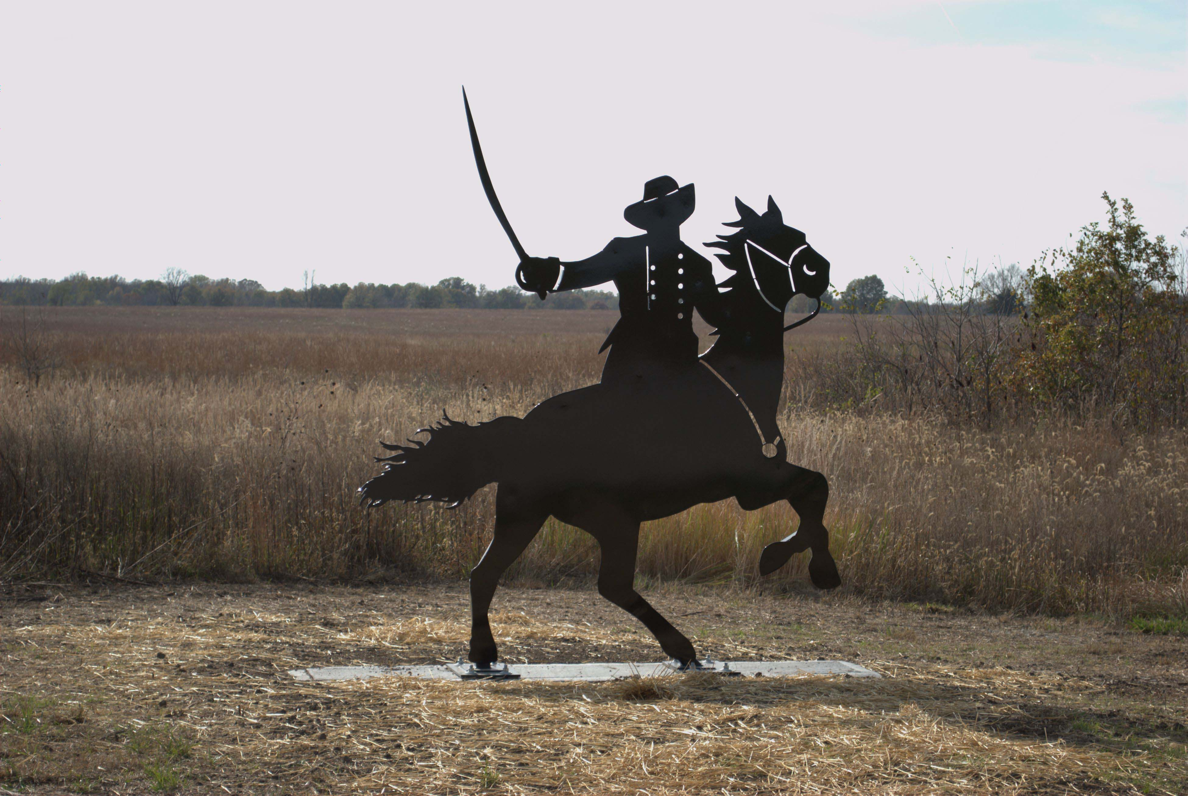 Metal art cavalryman at Mine Creek Battlefield.