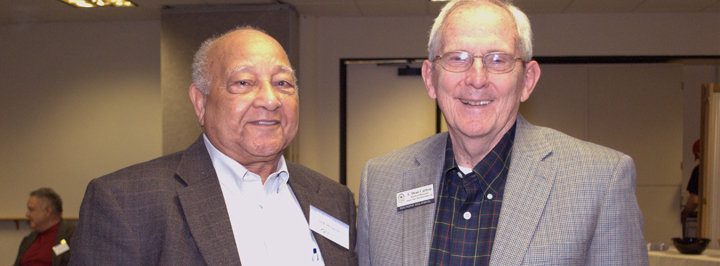 Jack Alexander, left, president, Kansas Historical Foundation board, E. Dean Carlson, right, past president