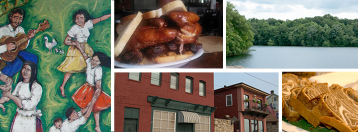Collage of things to see on Taste of Wyandotte County bus tour.