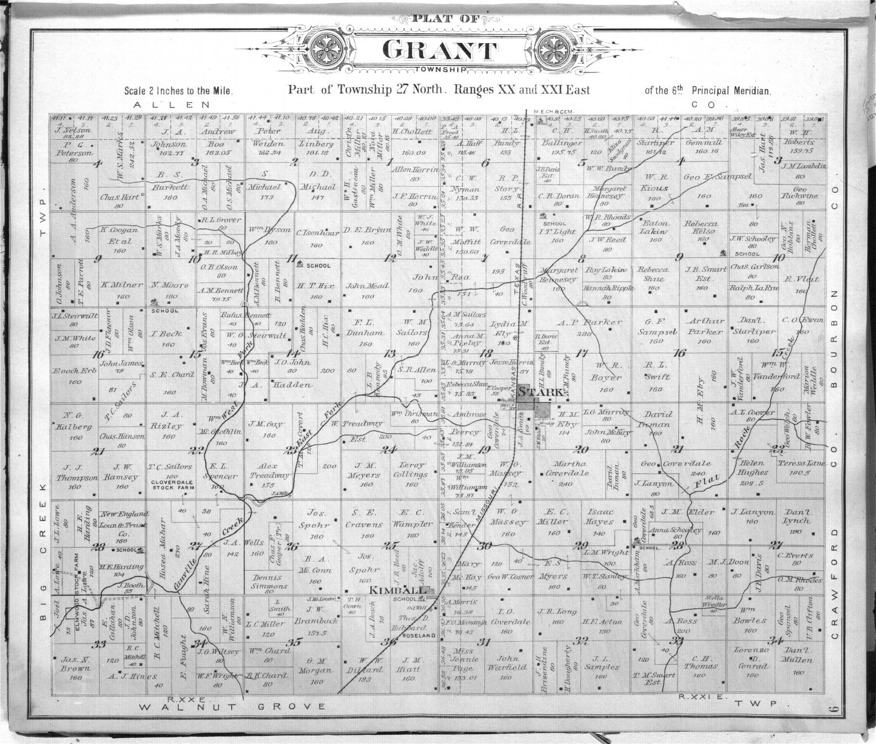 1906 Neosho County grant township map