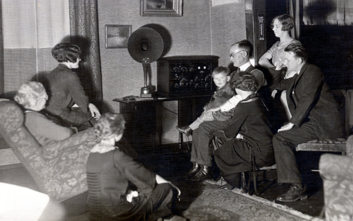 Birch Family gathered to listen to the radio